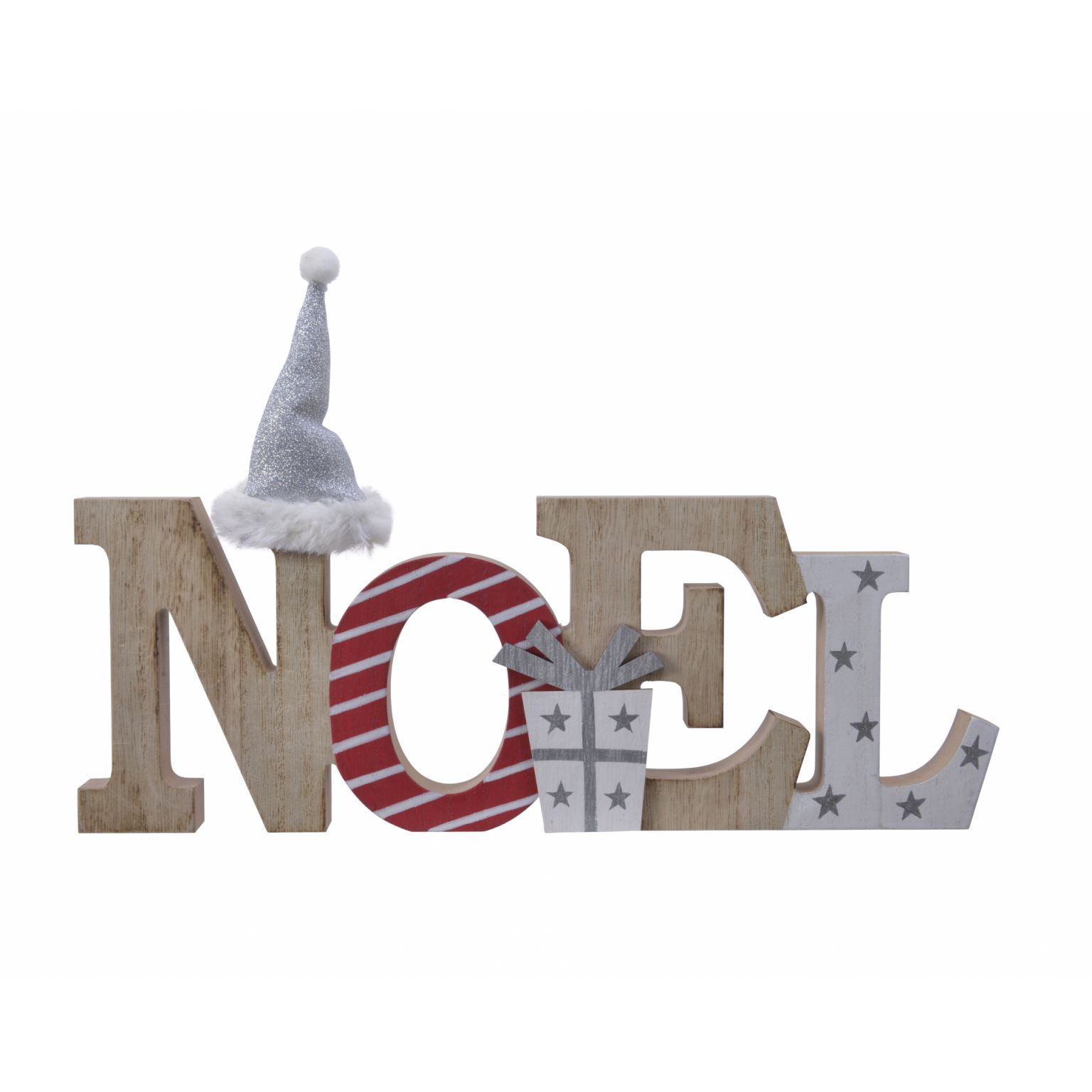 Pf Noel PF Mdf Noel Deco W Hat W Glitter Red/White 12X34X2Cm   Jones